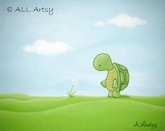 Turtle wishes - matted 8x10 painting print - childrens wall art. $26.00, via Etsy.