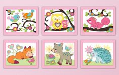 Set of Four Girlie Baby Happy Forest Animal by LittlePigStudios