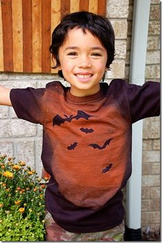 "I love this technique!  Super cute making a Halloween Batty shirt for the kids!  I was thinking of using a stencil and ""reversing"" the technique as it were by splattering fabric paint on a white shirt (say to make stripes for a jailbird)."