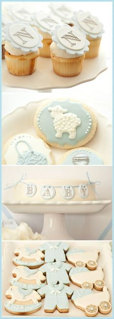 light blue cupcakes, cookies
