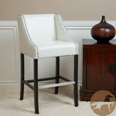 @Overstock.com - Christopher Knight Home Milano Ivory Quilted Bonded Leather Bar Stool - Ivory bonded leather with unique diamond-stitched pattern