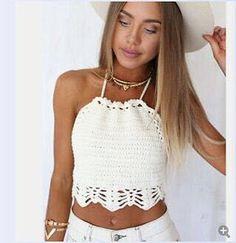 Women's Knitted Crochet Halter Top