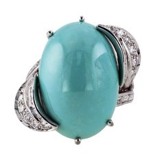 Jacob's Diamond & Estate Jewelry - Turquoise & Diamond Cocktail Ring