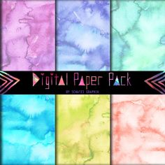 Digital Watercolor Papers --Pack C by schatzibrown on Creative Market.