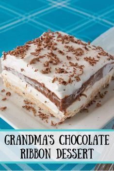 My Grandma's chocolate lasagna is a near no-bake dessert that is also very simple to make. This tried and true is rich, creamy and chocolatey too! Pudding Desserts, Köstliche Desserts, Delicious Desserts, Yummy Food, Health Desserts, Baking Recipes, Cake Recipes, Dessert Recipes, Food Cakes