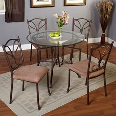 Enhance The Dining Area With This 5 Piece Alton Metal Golden Brown Dining  Set.