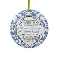 HRH Prince George Blue/White Scroll Christmas Ornaments #princegeorge #royalbaby