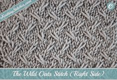 A mix of slip stitches and cabling gives the Wild Oats Stitch a stunning softly contoured pattern with a low relief, perfect for more subtle texturing.