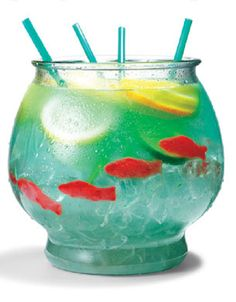 "fish bowl | 1/2 cup Nerds candy      1/2 gallon fish bowl      5 oz. vodka      5 oz. Malibu rum      3 oz. blue Curacao      6 oz. sweet-and-sour mix      16 oz. pineapple juice      16 oz. Sprite      3 slices each: lemon, lime, orange      4 Swedish gummy fish    Directions:    Sprinkle Nerds on bottom of bowl as ""gravel."" Fill bowl with ice. Add remaining ingredients. Serve with 18-inch party straws."