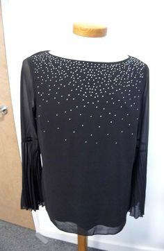 5aaff28ca52 WALLIS Pleated Sleeve Sequin Top Size 10 Black (New With Tag)  fashion