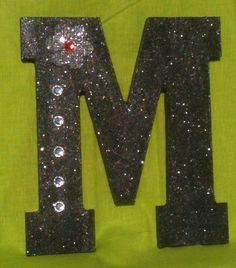 Wood Letter M, Glitter Black with Burlap Flower and Sequins by projectsbyGnG on Etsy