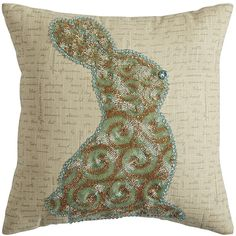 Pier 1 Imports Natural Beaded Elegant Bunny Pillow ($35) ❤ liked on Polyvore featuring home, home decor, throw pillows, handmade home decor, beaded accent pillows, rabbit home decor, bunny home decor and easter home decor