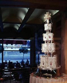 The wedding cake for ex-King Constantine II and Queen Anne-Marie of Greece.