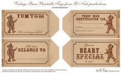 bnute productions: Free Printable Vintage Teddy Bear Tags and Teddy Bear Party Ideas