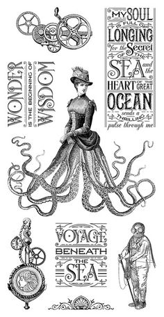Graphic 45 - Hampton Art - Voyage Beneath the Sea Collection - Cling Mounted Rubber Stamps - Three