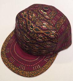 499cd92e5d4 Items similar to African Print Snapback - Maroon Custom Hat - Millinery -  Baseball Cap - Bespoke Headpiece - Folklore - Kuchi - Fez - Indian Art -  Bohemian ...