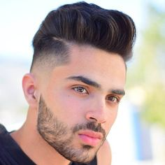 High Fade with Pompadour and Beard