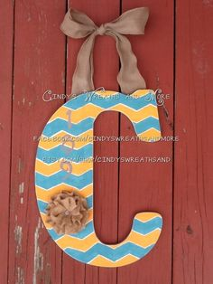 Monogram Custom Decorative Hand Painted by Cindyswreathsand, $40.00