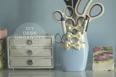 Desk organizer from shampoo bottles