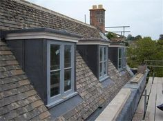Lead Clad dormers like the boy's bedrooms. Another feature that could be echoed in studio area? Loft Dormer, Dormer Roof, Dormer Bungalow, Shed Dormer, Dormer Windows, Attic Loft, Loft Room, Attic Rooms, Attic Spaces