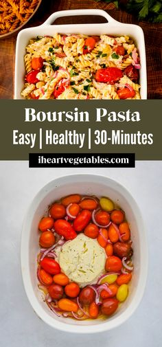 This creamy Boursin pasta only required a handful of ingredients but it creates a decadent pasta dish that tastes incredible. Roasted tomatoes, red onion, and tender pasta are coated in a tangy, creamy sauce. #dinner #creamy #baked #oven #30-minutes Feta Pasta, Baked Pasta Recipes, Popular Cheeses, What Is For Dinner, Greek Pasta, Pasta Shapes, Best Side Dishes, Gluten Free Pasta