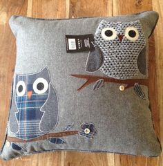 New Grey & Blue Shabby Chic Owl Cushion BNWT, Applique, Piping, Buttons On Trend