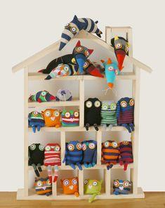 sock monster, squeazle, cat, rat, mole, monster £10.00 by Jenny MacKendrick, stitch-ink