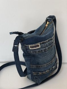Robust small shoulder bag made of recycled denim Get Fresh, Recycled Denim, Small Shoulder Bag, Bag Making, Cotton Fabric, Recycling, Wallet, Bags, Etsy