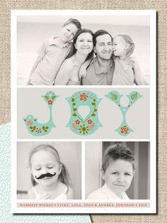"christmas holiday photo card greeting DIY printable ""folksy joy"". $18.00, via Etsy."