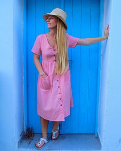 what's better than a dress with pockets? Oia Greece, Greece Holiday, Holiday Travel, Santorini, Pastel, Pockets, Shirt Dress, Pink, Shirts