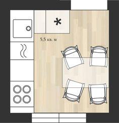 Фотография:  в стиле , Кухня и столовая, Перепланировка, дом серии II-29…