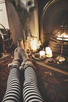 A warm fire, warm socks, wicked witch leggings, coffee, a book, and the Oxford comma... perfect for a snowy winter day!
