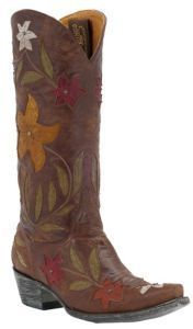 Old Gringo Ladies Ginger Distressed Brown w/ Multi Floral Inlay Snip Toe Cowboy Boots $709.99