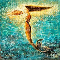 Mystic Mermaid Iv Shijun Munns 24X24  #Art #OilPaintings #Mermaid