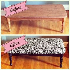 Piper Riley: DIY Bench out of an old coffee table