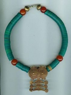 African tribal ethnic necklace with an old bronze pendant from the Gurunsi Tribe, Burkina Faso by beadartaustria