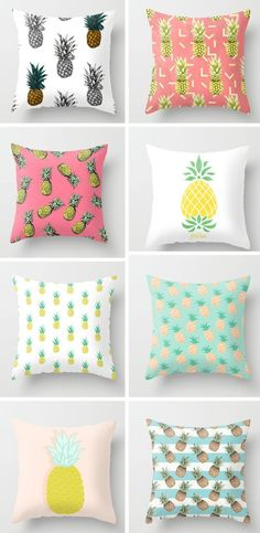 Pineapples are trendy in the interior design world. Check out these pineapple pillows to add summer fun to your decor! Cute Pillows, Bed Pillows, Cushions, My New Room, My Room, Girl Room, Diy Room Decor, Bedroom Decor, Home Decor