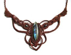 Macrame Fairy Pixie Necklace with Labradorite and by MagicKnots.