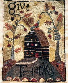 Hooked Rug / Welcomes friends at Thanksgiving. Rug Hooking Patterns, Quilt Patterns, Punch Needle Patterns, Rug Inspiration, Hand Hooked Rugs, Penny Rugs, Wool Applique, Handmade Rugs, Wool Rug