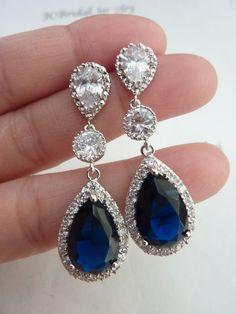 Wedding Bridal Earrings LARGE Halo Dark by JCBridalJewelry on Etsy, $57.95