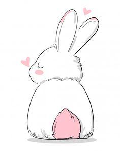 Cartoon Drawings, Animal Drawings, Cute Drawings, Cute Animal Illustration, Illustration Art, Rabbit Illustration, Lapin Art, Cute Bunny Cartoon, Art Mignon