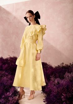 Fall Winter, Autumn, Runway Fashion, Womens Fashion, Haute Couture Fashion, Floral Fabric, Yellow Dress, Looking For Women, Stylish Outfits