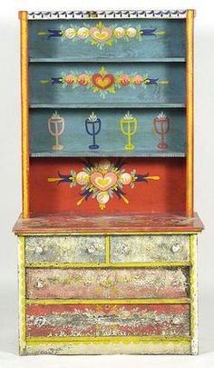 peter hunt painted furniture | furniture, America, Furniture: A Peter Hunt decorated step-back hutch ...