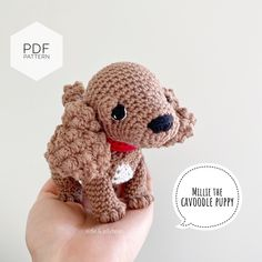 "Excited to share this item from my #etsy shop: AMIGURUMI PATTERN/ tutorial (English) Amigurumi Cavoodle - ""Millie the Cavoodle puppy"" pdf - US terminology Half Double Crochet, Single Crochet, Crochet Chain, Crochet Hooks, Yarn Dolls, Crochet Abbreviations, Matilda, Doll Eyes, Egg Shape"