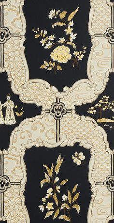 Chinoiserie wallpaper I Sherle Wagner Chinoiserie Wallpaper, Chinoiserie Chic, New Chinese, Chinese Style, Bright Wallpaper, China Art, Custom Wall, Vintage Maps, Textile Patterns