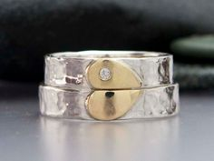 LichenAndLychee - Diamond Heart Wedding Band Set in 14k Gold and Sterling Silver - We Hold One Heart.