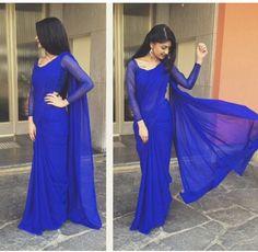 Plain royal blue saree