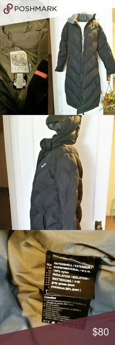 Burton Goose Down Stadium Coat EUC Black with grey lining, grey goose down filled, knee length, super warm!  Inner zipper, secondary magnetic button closure, hooded, plus inner phone pocket with headphone port (as seen in photo).  No flaws, doesn't fit anymore but is a true small with room to wear a bulky sweater.  This is a great coat that would keep you warm and stylish for several more winters! Burton Jackets & Coats