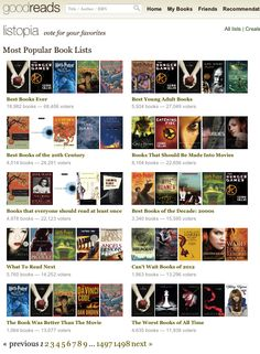 Goodreads most popular book lists..follow to webpage