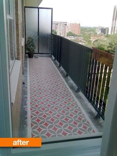 Before & After: This Blah Balcony Goes Bold | Apartment Therapy - paint the sidewalk